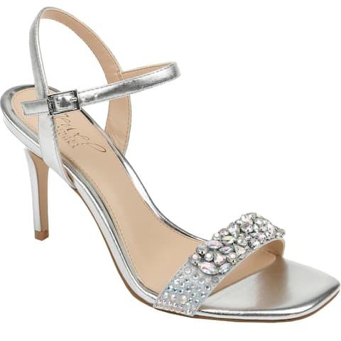 Jewel Badgley Mischka Womens Natasha Evening Heels Patent Slingback - Silver Metallic