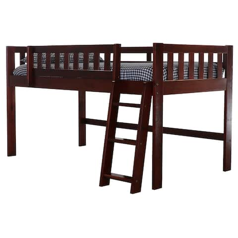 OS Home and Office Model 82804-1AB Twin Low Loft Bed in Rich Merlot