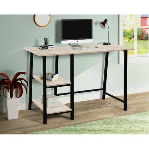 TiramisuBest Metal Frame Home Office Desk with Wood Surface