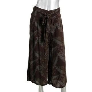 Free People Womens Knit Printed Wide Leg Pants - S