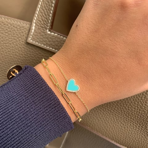 Heart Bracelet Turquoise & Diamond 14K Yellow Gold by Joelle Collection