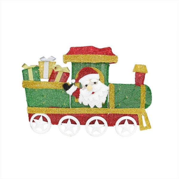 "30"" Lighted Tinsel Choo Choo Train Locomotive with Santa Claus Christmas Outdoor Decoration"
