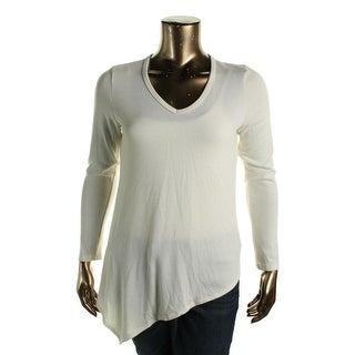 Karen Kane Womens Pullover Top Asymmetric V-Neck