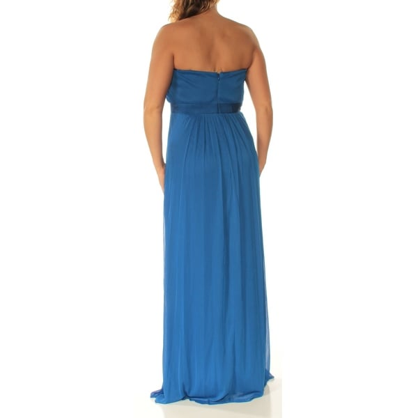 ADRIANNA PAPELL Womens Blue Embellished Strapless