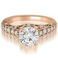 1.00 ct.tw Antique Milgrain Round Cut Diamond Engagement Ring - White H-I