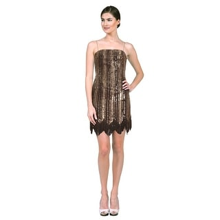 Aidan Mattox Beaded Sequined Spaghetti-Strap Party Cocktail Dress - 0