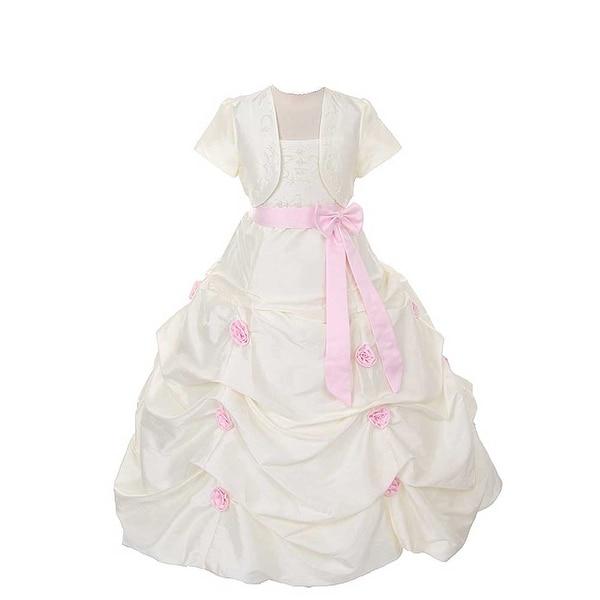 Rain Kids Ivory Pink Flower Pickup Pageant Flower Girl Dress Girls 2T