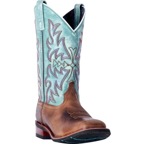 Laredo Western Boots Womens Anita Stockman heel Brown Turquoise