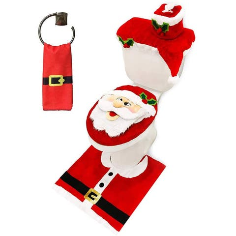 """Joyin 15.1 in. Tall Red & White Polyester Christmas Bathroom Set, 5-Pack - 12.1""""W x 3.8""""L x 15.1""""H"""