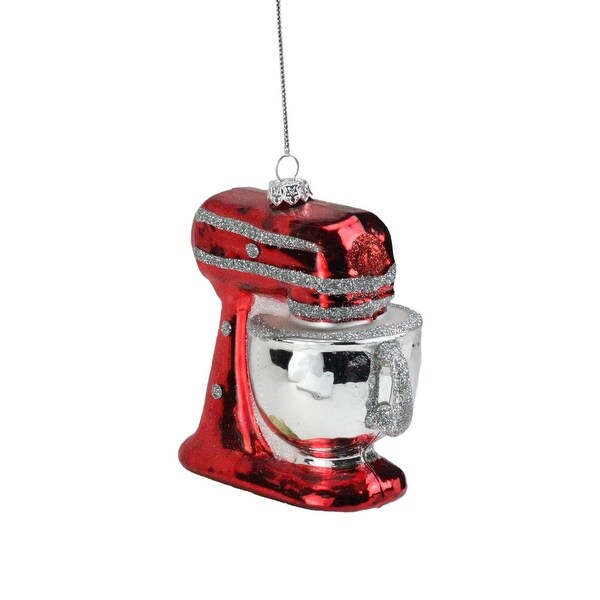 "3.75"" Red and Silver Kitchen Stand Mixer Appliance Christmas Ornament"