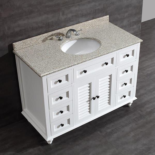 Heather 48 Inch Single Sink Bathroom Vanity With Granite Top Overstock 10581776