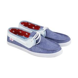 Vans Chauffette Mens Blue Textile Casual Dress Lace Up Boat Shoes Shoes