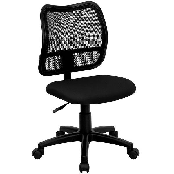 "38"" Mid-Back Black Mesh Swivel Task Office Chair - N/A"