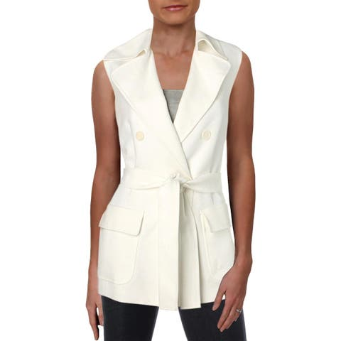 Anne Klein Womens Vest Double-Breasted Tie-Front