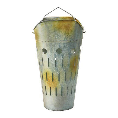 Metal Vintage Reproduction Olive Bucket, Distressed Galvanized Finish