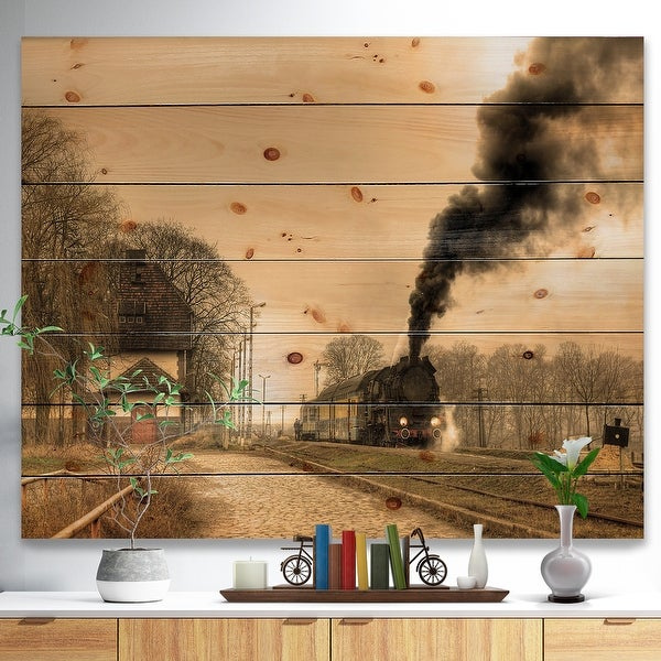 Designart 'Retro Steam Train' Vintage Print on Natural Pine Wood - beige. Opens flyout.