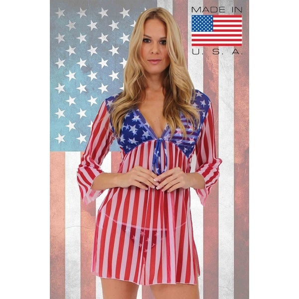 e161b14f5f178 Shop Women's Beach Dress Cover Up USA Flag Long Sleeve Swimwear Swimsuit  Stars & Stripes - Red - Free Shipping On Orders Over $45 - Overstock -  11544921