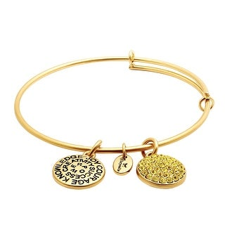 Chrysalis Expandable November Bangle Bracelet with Yellow Swarovski Crystals in 14K Gold-Plated Brass