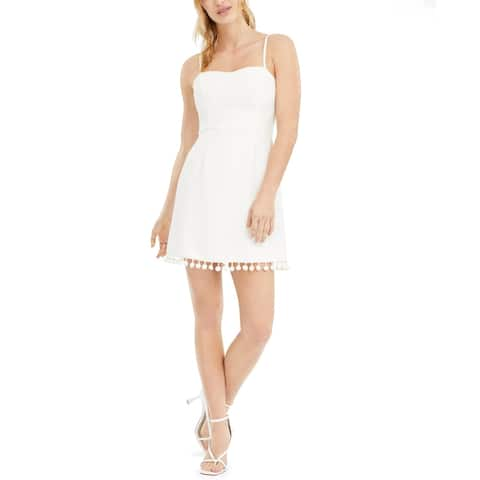 French Connection Womens Mini Dress Pom Pom Sleeveless - Summer White