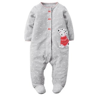 Carters Girls 0-9 Months Puppy Fleece Snap-Up Sleeper - grey