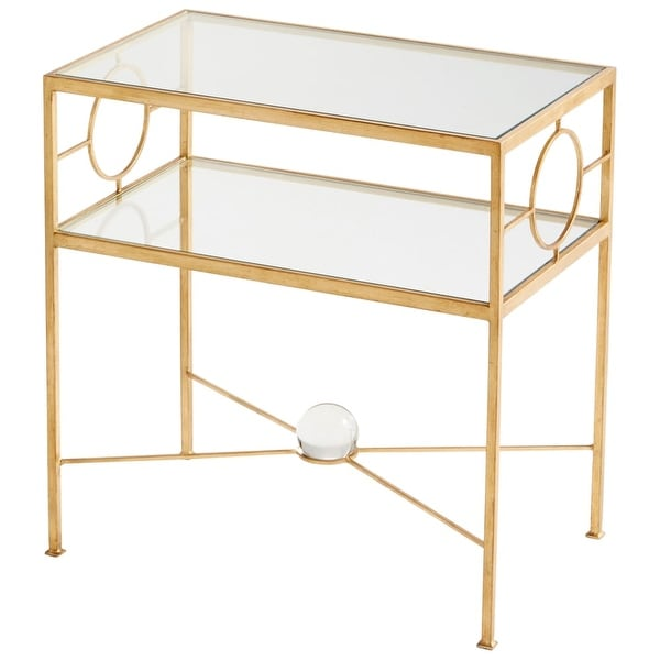 "Cyan Design 8832 Auric Orbit 26"" Tall X 24"" Wide Iron and Glass Accent Table with Glass Orb - Gold Leaf"