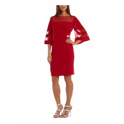 R&M RICHARDS Red Bell Sleeve Above The Knee Sheath Dress Size 6P