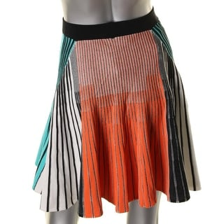 Ronny Kobo Womens Ribbed Stretch A-Line Skirt - XS