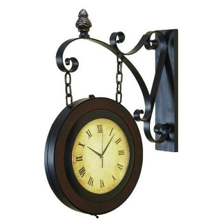 """Aspire Home Accents 80433 27"""" Train Station Wall Clock - Brown"""
