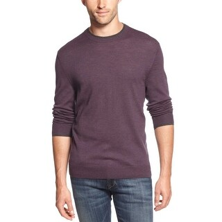 Club Room Estate Merino Wool Blend Crewneck Sweater Purple Passion Large L