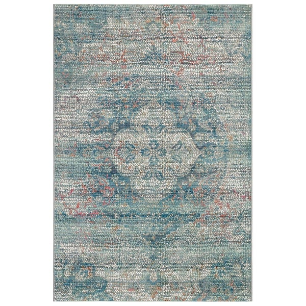 "Liora Manne Marina Medallion Indoor/Outdoor Rug Blue 6'6""X9'4"""