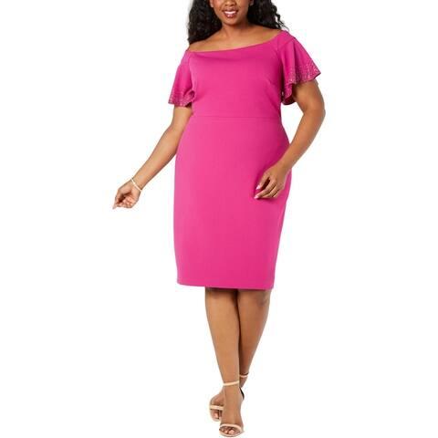 Calvin Klein Womens Plus Sheath Dress Embellished Off-The-Shoulder - Jazzberry