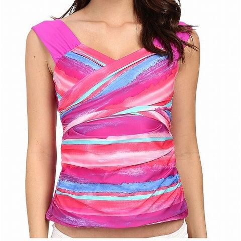 Athena Pink Women Size 8 Striped Twist Tankini Top Sunrise Swimwear