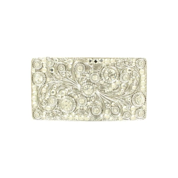 Nocona Western Belt Buckle Womens Rectangle Crystals Silver - 4 x 2 1/4