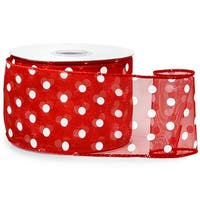"Pack Of 1, Red w/White Polka Dots Ribbon 2.5"" X 25 Yards Wired 100% Nylon Great For Christmas Or Valentine Packaging"