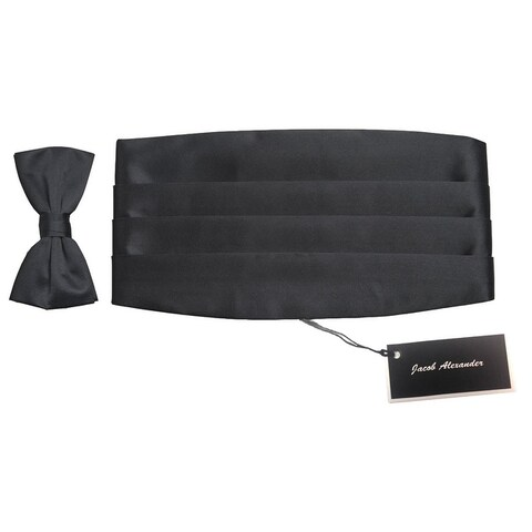 Jacob Alexander Cummerbund and Bowtie Gift Set - Black - One size