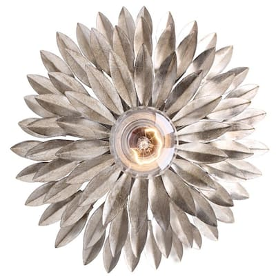 Broche 1 Light Antique Silver Ceiling Mount