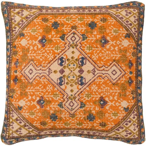 Decorative Lexie Orange 22-inch Throw Pillow Cover