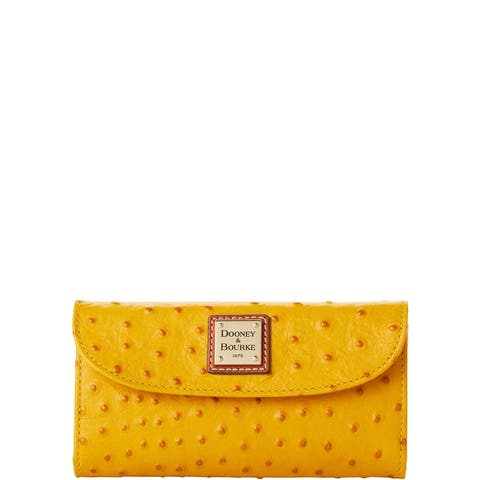 Dooney & Bourke Ostrich Embossed Leather Continental Clutch Wallet