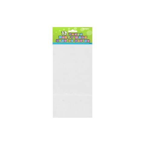 """Unique Paper Party Bag 10x5"""" White 12pc"""