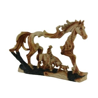 Horse and Cowboy Faux Wood Carving Statue - Multicolored