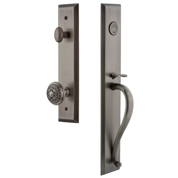 """Grandeur FAVSGRWIN_ESET_234 Fifth Avenue Solid Brass Rose Keyed Entry Single Cylinder Full Plate """"S"""" Grip Handleset with"""