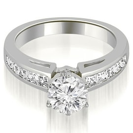 1.20 cttw. 14K White Gold Channel Set Princess Cut Diamond Engagement Ring
