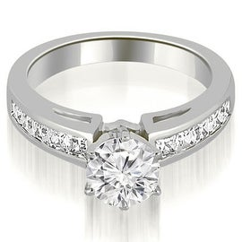 1.20 cttw. 14K White Gold Channel Set Princess Cut Diamond Engagement Ring