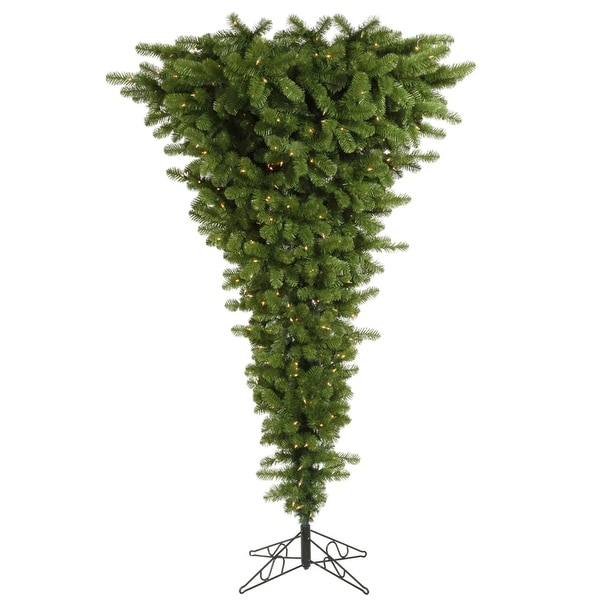 7.5' Pre-Lit Green Upside Down Artificial Christmas Tree - Clear Dura Lights