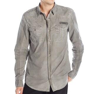 Buffalo David Bitton NEW Gray Mens Size 2XL Button Down Check Shirt