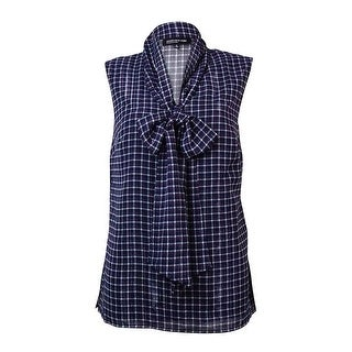 Jones New York Women's Metallic Plaid Neck Tie Blouse - 4