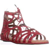 Gentle Souls Break My Heart Lace Up Flat Sandals, Red - 8 n us / 39 eu