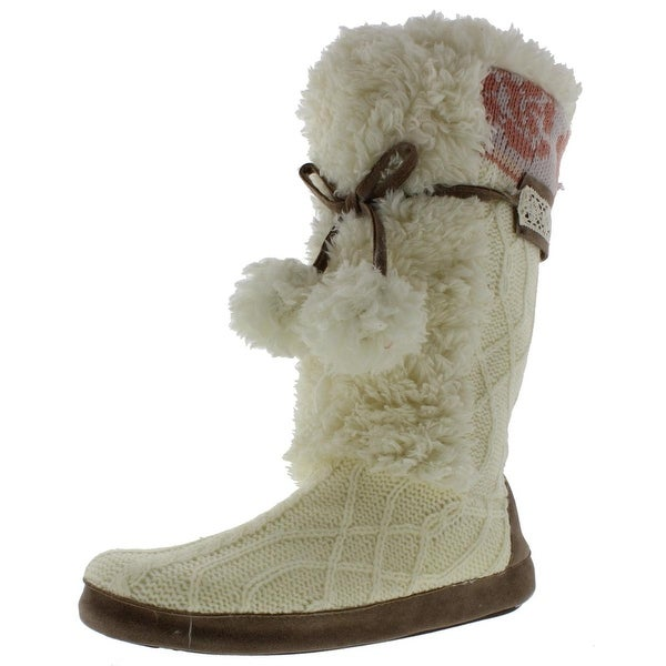 Muk Luks Womens Jewel Bootie Slippers Faux Fur Knit