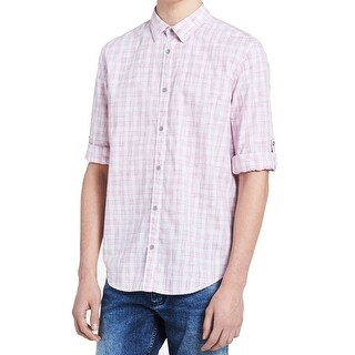 Calvin Klein Miami Pink Mens Size Large L Plaid Button Down Shirt