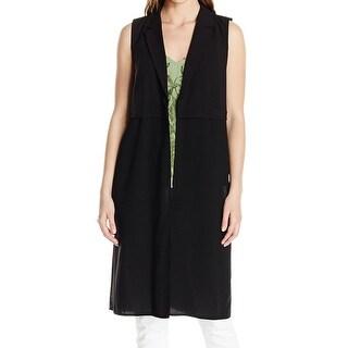 Kensie NEW Black Women's Size Large L Stretch Notch-Collar Midi Vest